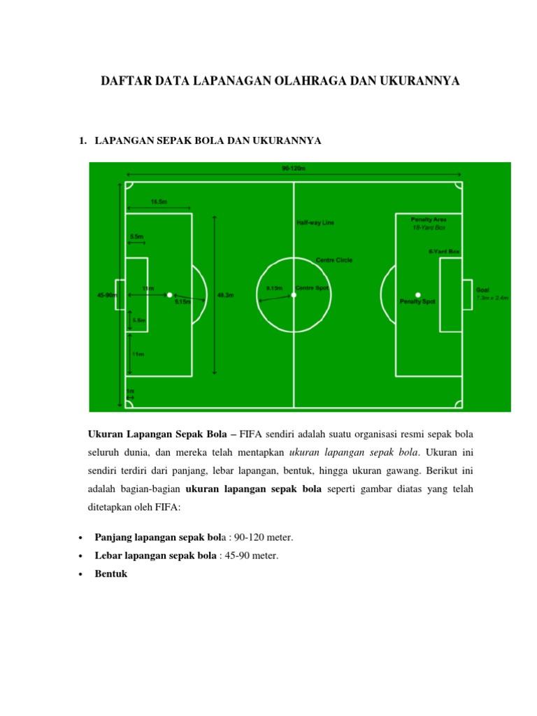 Buatlah Gambar Lapangan Sepak Bola Beserta Ukurannya Secara Lengkap