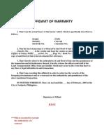 Affidavit of Warranty