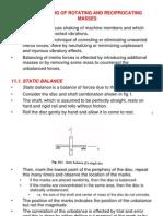 11. Balancing of Rotating and Reciprocating Masses