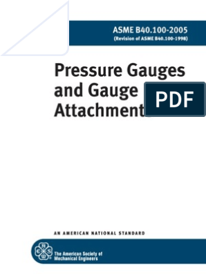 ASME B40 100-2005 Pressure Gauges and Gauge Attachments | Nature