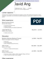 Resume Template Singapore