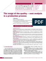 The Usage of the Quality-cost Analysis in a Production Process