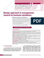Design Approach in Management Toward to Business Excellence