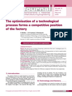The Optimization of a Technological Process Forms a Competitive Position of the Factory