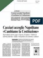 La Costituzione domani nel 60° anniversario della Carta fondamentale della Repubblica