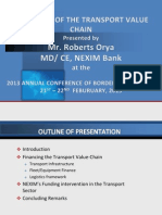 Financing of the Transport Value Chain