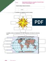 2 Guía de Ejercicio Tema línea del ecuador, meridiano de Greenwich, Trópicos, Círculos polares y hemisferios
