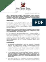 JNE expide Resolucion N° 000207- 2013 - JNE para Acción de Inconstitucionalidad