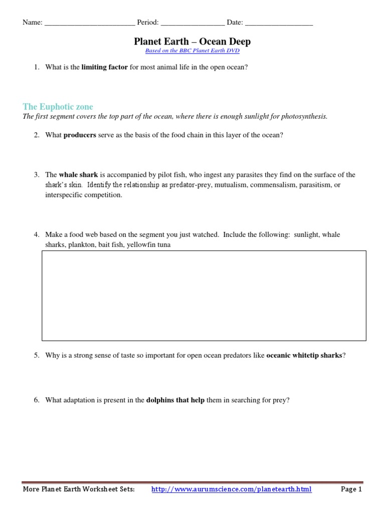 Blue Planet Open Ocean Worksheet Tecnologialinstante – Planet Earth Shallow Seas Worksheet