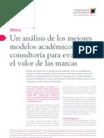 I20 Un análisis de los mejores modelos académicos para evaluar el valor de las marcas