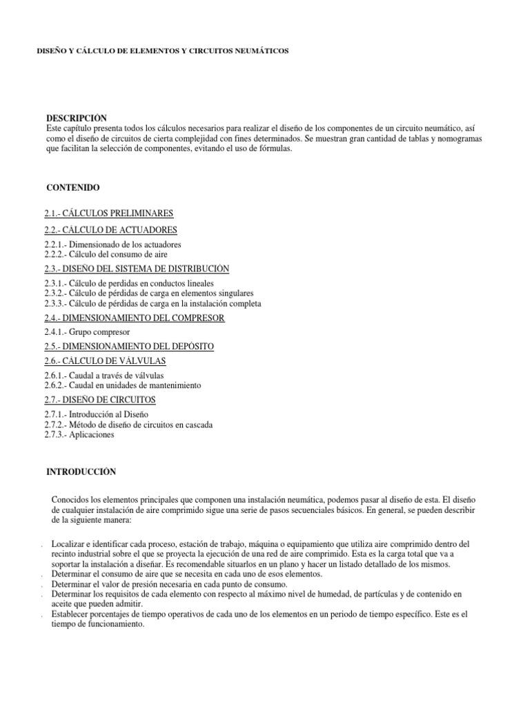 Circuito Neumatico Basico : DiseÑo y cÁlculo de elementos y circuitos neumÁticos