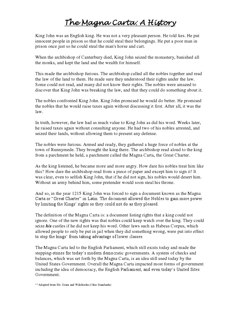 Worksheets Magna Carta Worksheet the magna carta a reading 3 politics