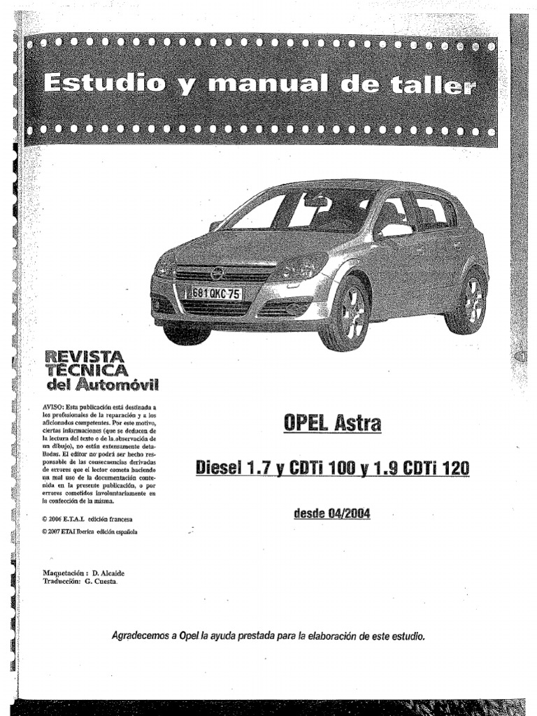 manual de taller opel astra 1 7 cdti 100cv rh scribd com manual de taller opel astra g 1.6 8v manual taller opel astra g
