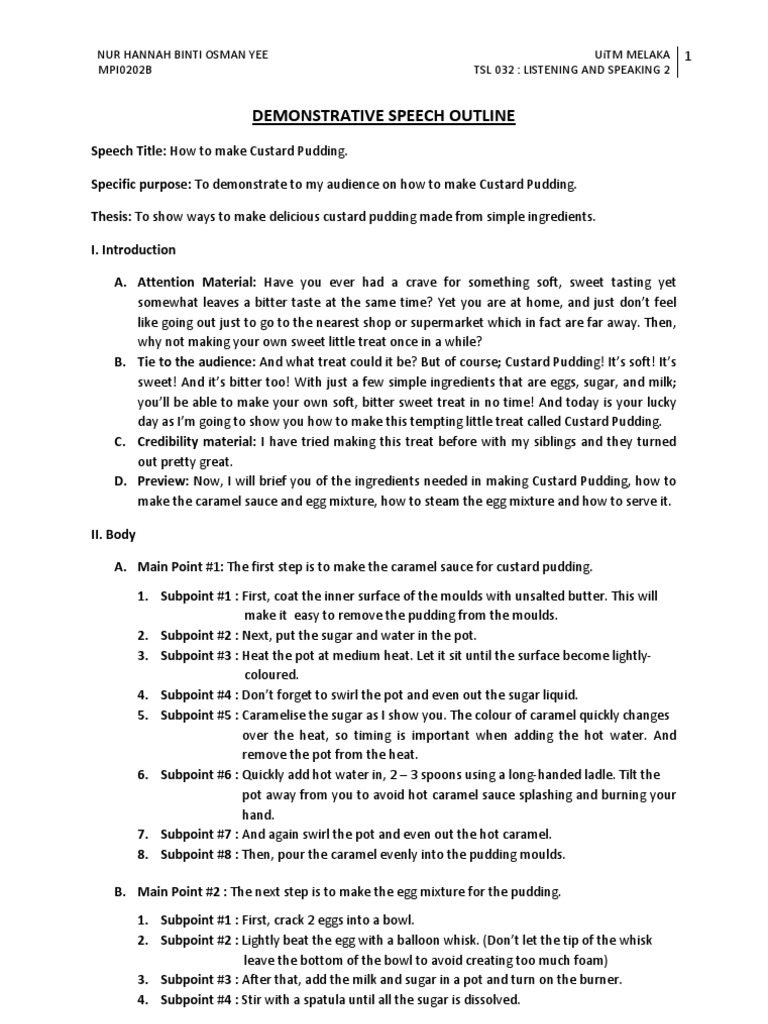 demonstrative speech outline Demonstrative speech sample--how to tie a tie  sample outline demonstrative speech sample--how to tie a tie demonstrative speech october (3.
