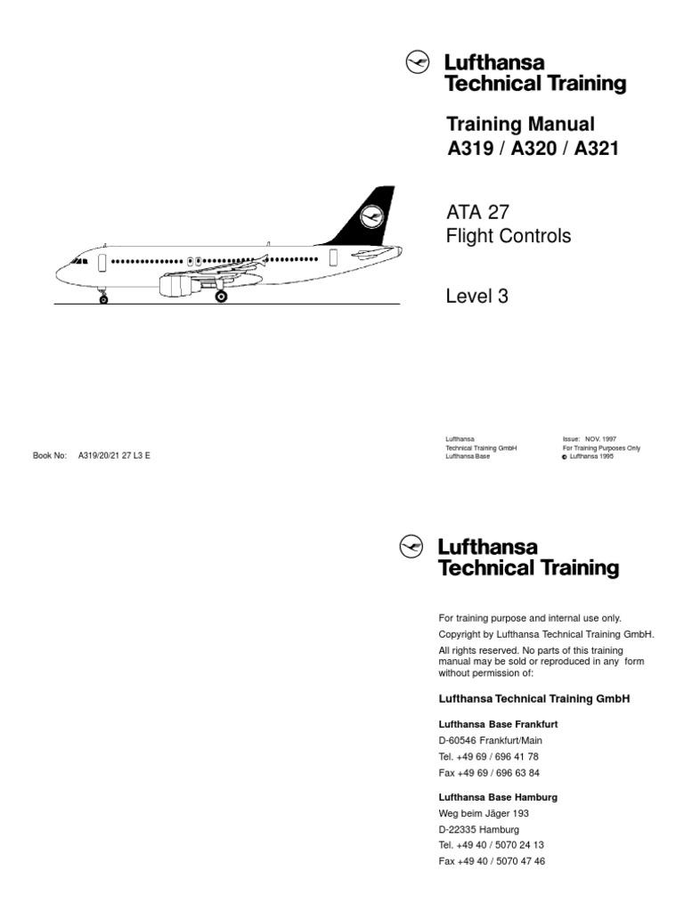 Airbus A319-A321 [DLH] Training Manual, ATA 27 Flight Controls Level 3 |  Aircraft Flight Control System | Flight Control Surfaces