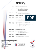 Itinerary - Day of the Conference