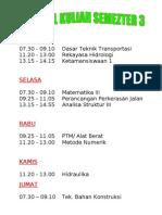 Jadwal Kuliah Semester 3