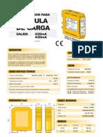 Convertidor Para 1 cElula de Carga, Salida 0-20mA, 4-20mA