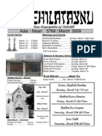 First Hebrew Congregation of Peekskill Bulletin - March 2009