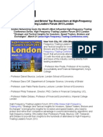 LSE, UCL, Imperial and Bristol Top Researchers at High-Frequency Trading Leaders Forum 2013 London