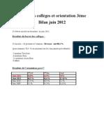 Bilan orientation 3e et résultats DNB 2012