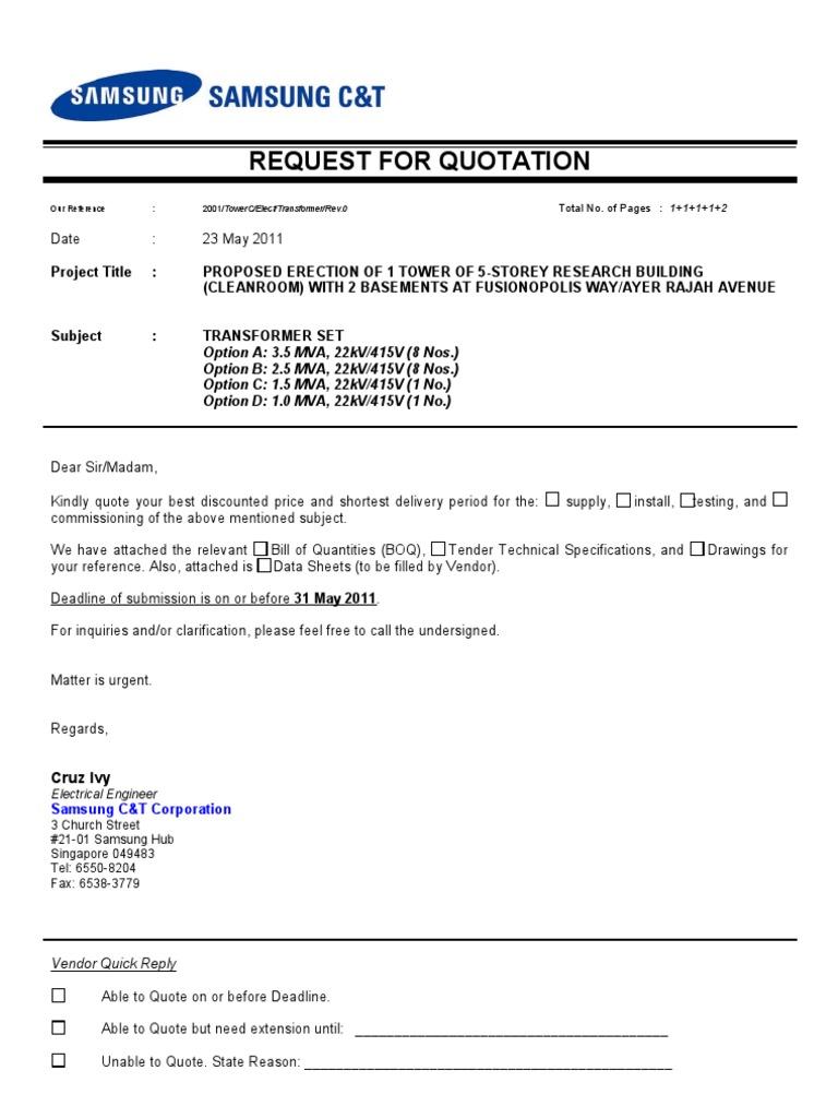 Quotation sample letter – Quotation Letter