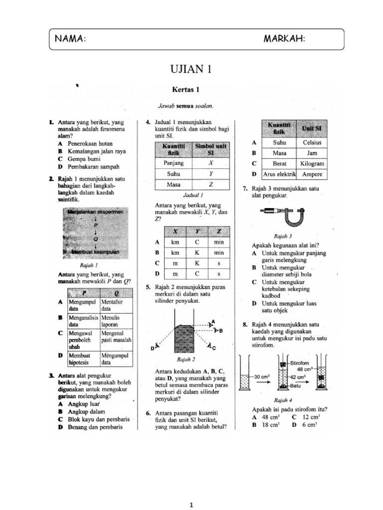 Ujian kertas 1 sains tingkatan 1 ccuart Choice Image