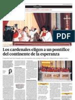 Cardenales eligen a un pontífice del continente de la esperanza