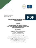 Comissão de Veneza (2012) parecer sobre imparcialidade judicial na Hungria