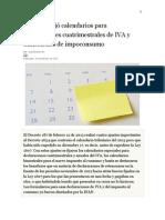 Gobierno Reglamento Calendarios Iva-impoconsumo
