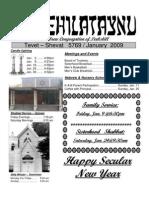 First Hebrew Congregation of Peekskill Bulletin - January 2009
