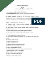 ROTEIRO DE ANATOMIA - INTRODUÇÃO