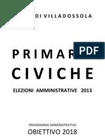 Programma elettorale Obiettivo 2018 - PRIMARIE VILLADOSSOLA