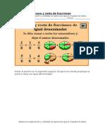 Matemáticas - Suma y resta de fracciones. Lección 15