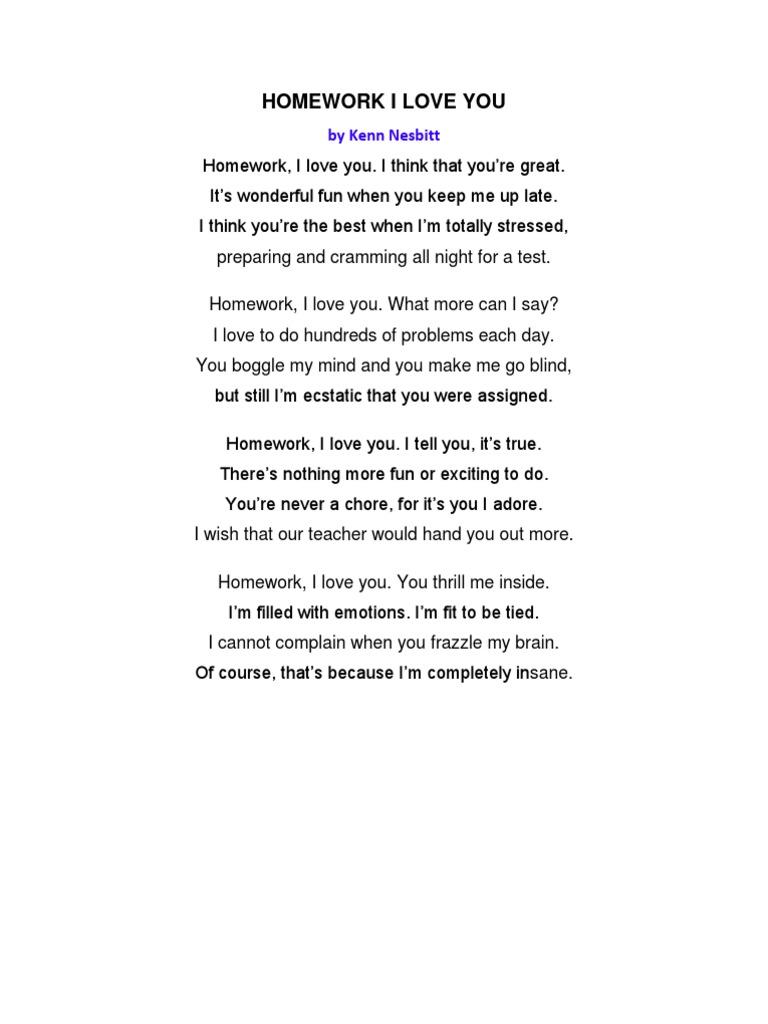 poem homework i love you by kenn nesbitt