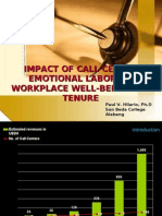 Impact of Call Center Emotional Labor on Workplace Well being and Tenure