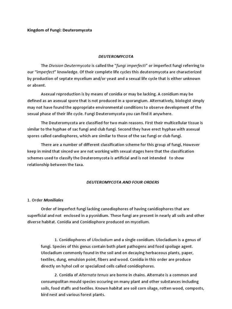 Deuteromycota asexual reproduction definition