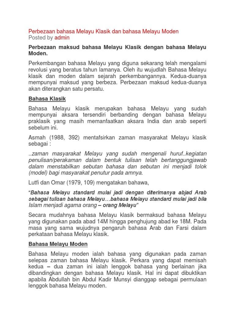Perbezaan Bahasa Melayu Klasik Dan Bahasa Melayu Moden