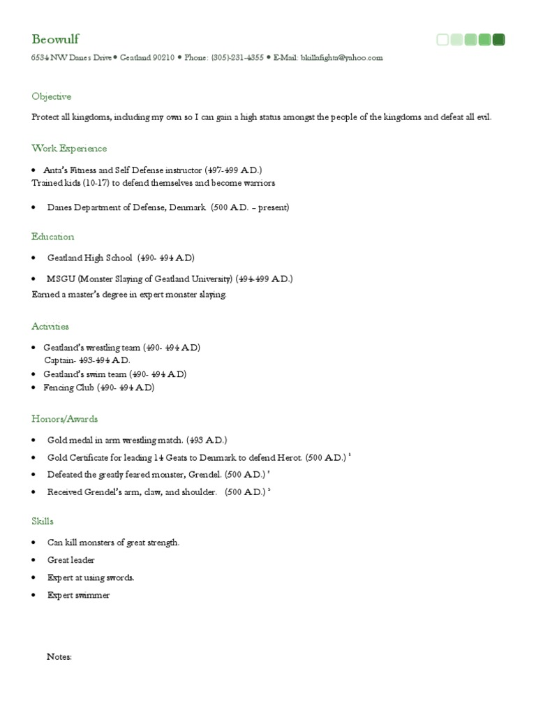 beowulf resume