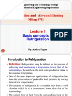 Lecture 1. Basic Concepts in Refrigeration