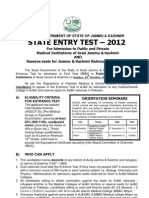 AJK Admission Entry Test 2012 Schedule in Medical Institutes