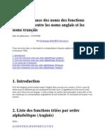 Correspondance des noms des fonctions dans Access entre les noms anglais et les noms français