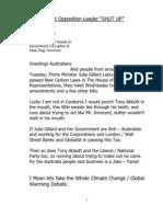 Tony Abbott Opposition Leader Shut Up