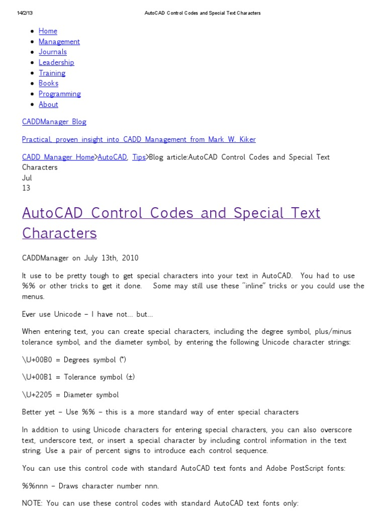 Autocad Control Codes And Special Text Characters Autodesk