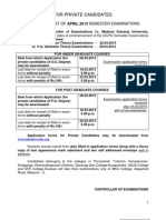 b.a April 2013 Semester Application for Private Candidates