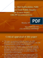 Presentation of Critical Appraisal on the Francis Inquiry