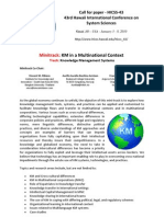 Knowledge Management in Multinational Context - Call for Paper - HICSS-43