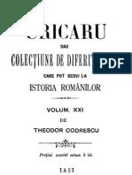 Th. Codrescu - Uricarul, Vol 21 (1606-1862)