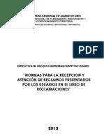 Directiva Libro de Reclamos Goremad-2013
