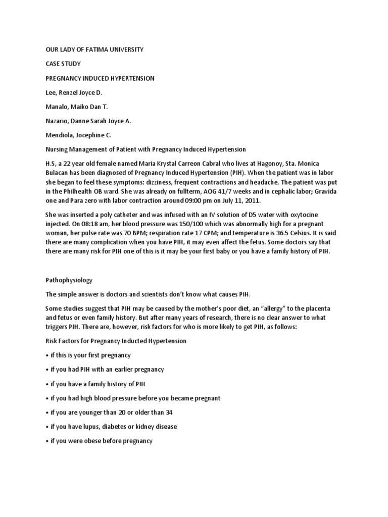 pregnancy induced hypertension case studies